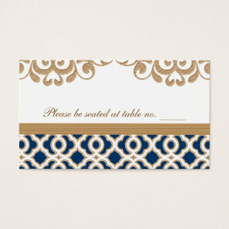 Navy Blue and Gold Moroccan Wedding Table Place Business Card
