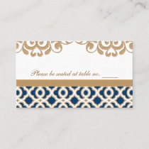 Navy Blue and Gold Moroccan Wedding Table Place Place Card