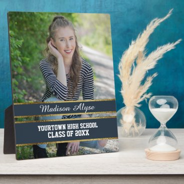 Aztec Themed Navy Blue and Gold Photo Graduation Plaque