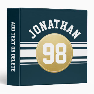Navy Blue and Gold Sports Jersey Stripes Name 3 Ring Binder