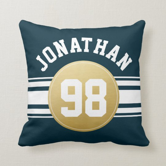Navy Blue And Gold Sports Jersey Stripes Name Throw Pillow