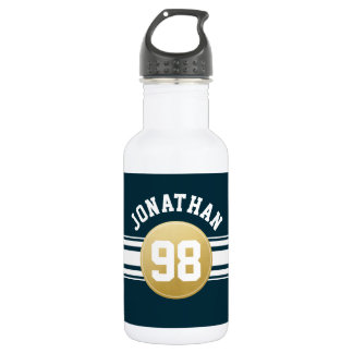 Navy Blue and Gold Sports Jersey Stripes Name Water Bottle