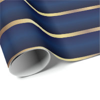 Navy Blue and Gold Stripes Wrapping Paper