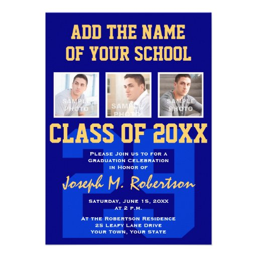 Navy Blue and Gold Team Graduation Team Spirit Personalized Announcements