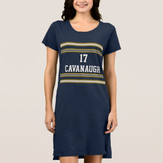 Navy Blue and Gold Team Spirit with Jersey Number Dress