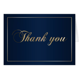 Navy Blue and Gold Thank You Note Card