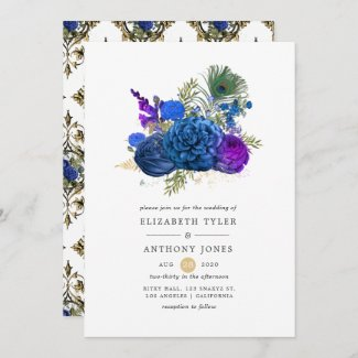 Navy Blue and Gold Vintage Peacock Floral Wedding Invitation