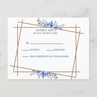 Navy Blue and Gold Watercolor Rustic Wedding RSVP Invitation Postcard