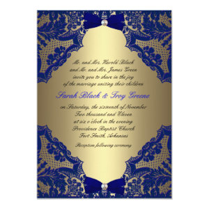 Navy blue and Gold Wedding Invitation 5