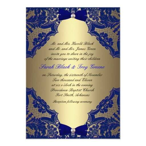 Blue And Gold Wedding Invitations 001 - Blue And Gold Wedding Invitations