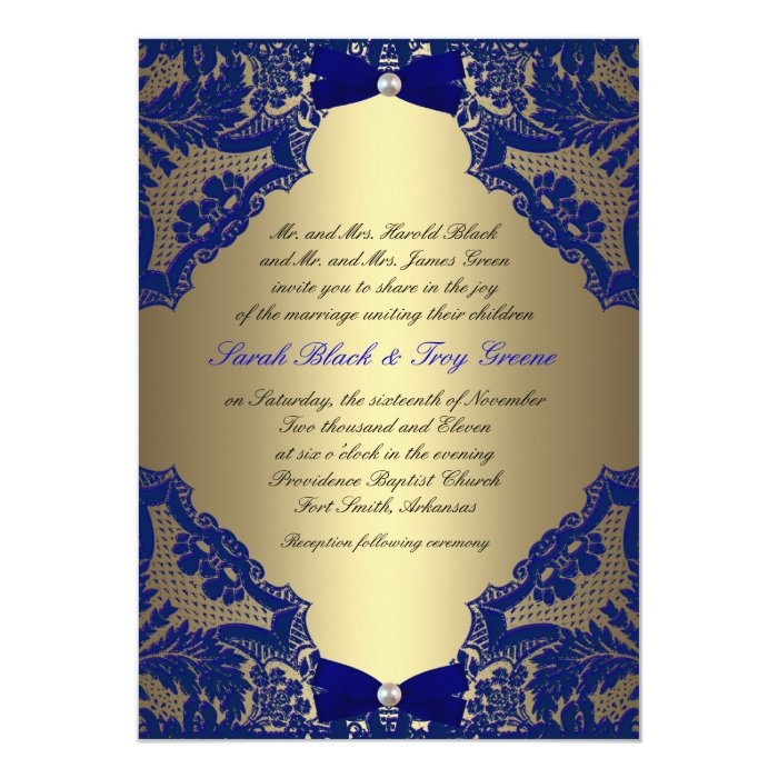 Navy Blue And Gold Wedding Invitations: Navy Blue And Gold Wedding Invitation