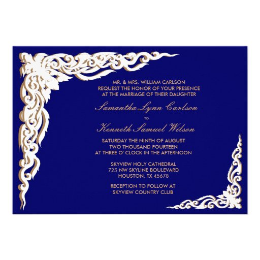 Blue And Gold Wedding Invitations and get inspiration to create nice invitation ideas