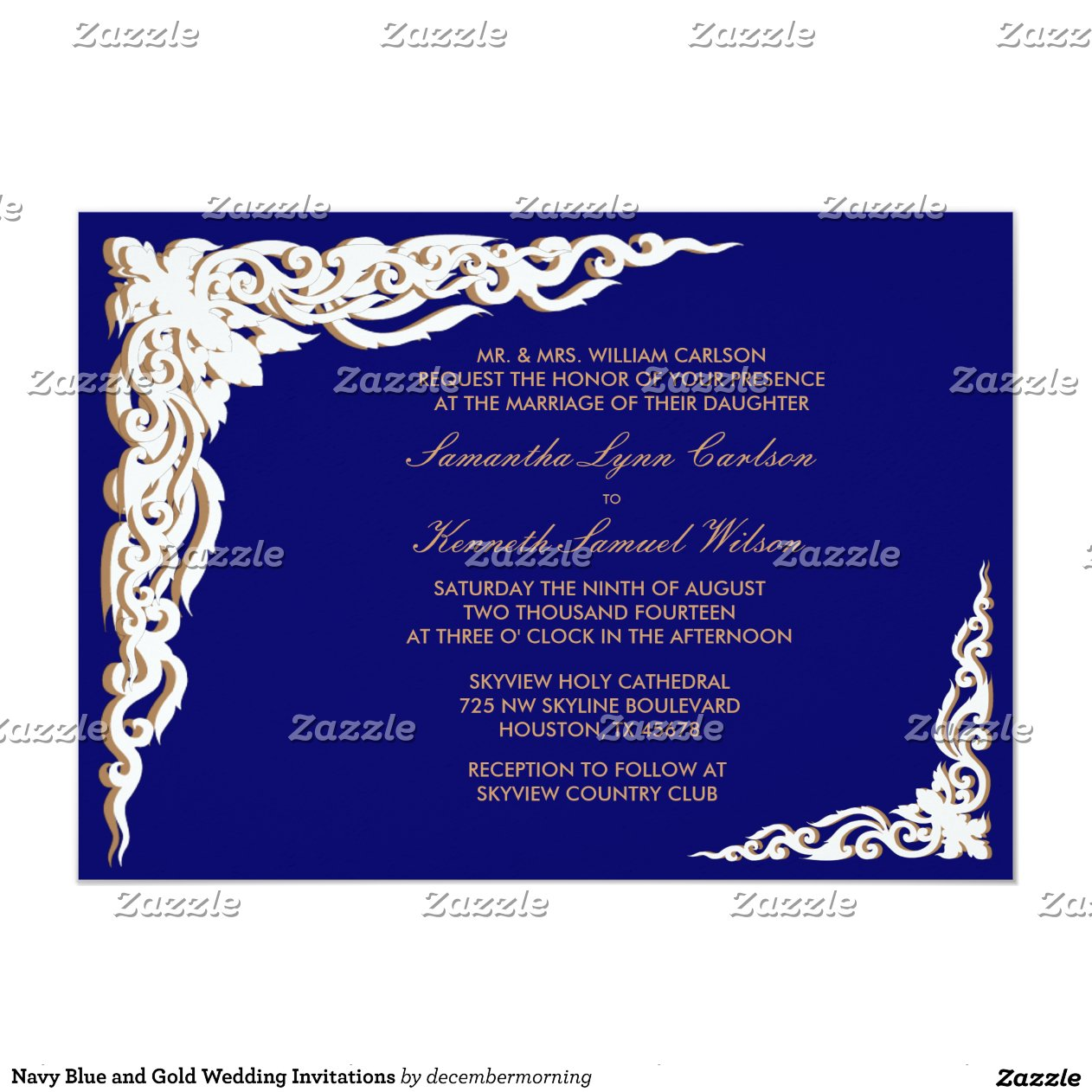 Blue And Gold Wedding Invitations 027 - Blue And Gold Wedding Invitations