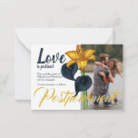 """Navy Blue and Gold Wedding Postponement Advice Card<br><div class=""""desc"""">Send your guests these wedding postponement cards with dark blue and gold lilies. These change the date cards are beautiful with matching address labels. They are easy to personalize, and size choices are available. Tiger lily designs are beautiful as a set and will be a great keepsake long after your...</div>"""