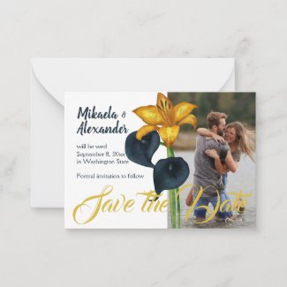 Navy Blue and Gold Wedding Save-the-Date Advice Card