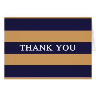 Navy Blue and Golden Yellow Stripe Thank You Cards