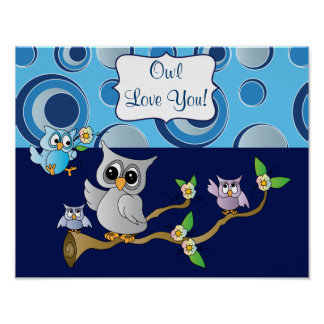 Navy Blue and Gray  Baby Owl Nursery Design Poster