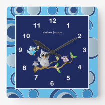 Navy Blue and Gray Baby Owl Nursery Design Square Wall Clock