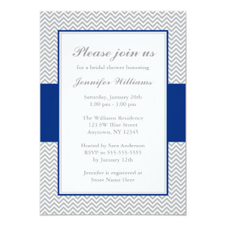 Navy Blue and Gray Chevron Bridal Shower Personalized Invite