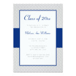 Navy Blue and Gray Chevron Graduation Party 5x7 Paper Invitation Card