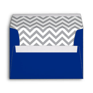 Navy Blue and Gray Chevron Return Address Envelope