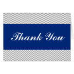 Navy Blue and Gray Chevron Thank You Card
