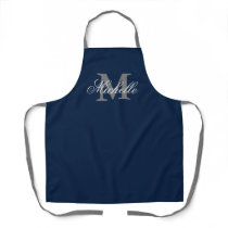 Navy blue and gray custom name monogram kitchen apron
