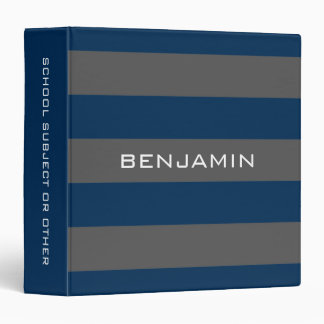 Navy Blue and Gray Rugby Stripes with Custom Name 3 Ring Binder