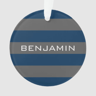 Navy Blue and Gray Rugby Stripes with Custom Name