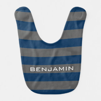 Navy Blue and Gray Rugby Stripes with Custom Name Baby Bib