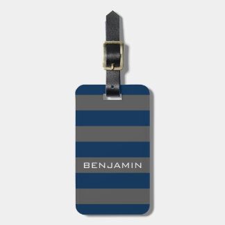 Navy Blue and Gray Rugby Stripes with Custom Name Bag Tag