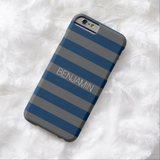 Navy Blue and Gray Rugby Stripes with Custom Name Barely There iPhone 6 Case