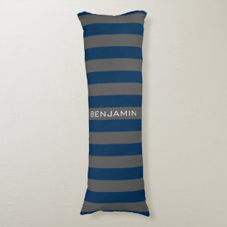 Navy Blue and Gray Rugby Stripes with Custom Name Body Pillow