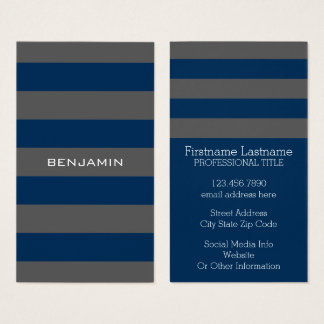 Navy Blue and Gray Rugby Stripes with Custom Name Business Card