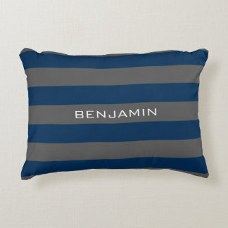 Navy Blue and Gray Rugby Stripes with Custom Name Decorative Pillow