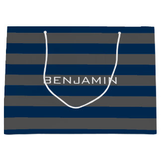 Navy Blue and Gray Rugby Stripes with Custom Name Large Gift Bag