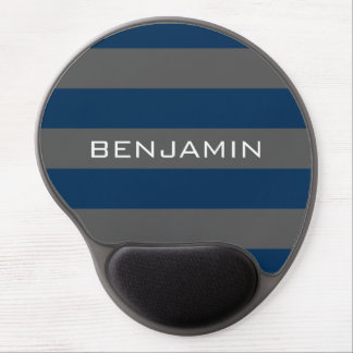 Navy Blue and Gray Rugby Stripes with Custom Name Gel Mousepad