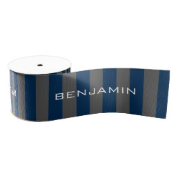 Navy Blue and Gray Rugby Stripes with Custom Name Grosgrain Ribbon