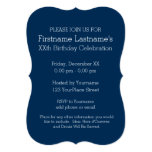Navy Blue and Gray Rugby Stripes with Custom Name 5x7 Paper Invitation Card