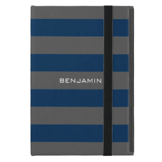 Navy Blue and Gray Rugby Stripes with Custom Name iPad Mini Cases