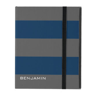 Navy Blue and Gray Rugby Stripes with Custom Name iPad Cover