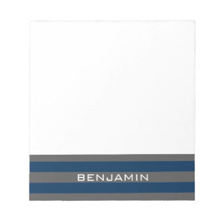 Navy Blue and Gray Rugby Stripes with Custom Name Notepad