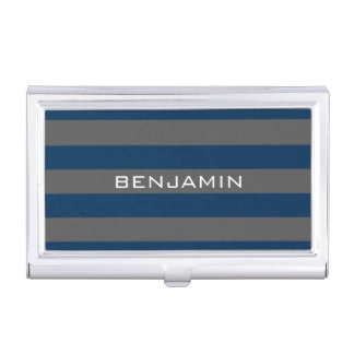 Navy Blue and Gray Rugby Stripes with Custom Name Business Card Case