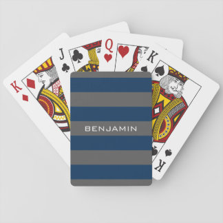 Navy Blue and Gray Rugby Stripes with Custom Name Playing Cards