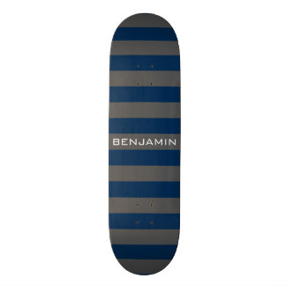 Navy Blue and Gray Rugby Stripes with Custom Name Skateboard Deck