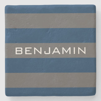 Navy Blue and Gray Rugby Stripes with Custom Name Stone Coaster