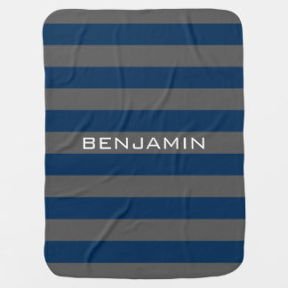 Navy Blue and Gray Rugby Stripes with Custom Name Swaddle Blanket