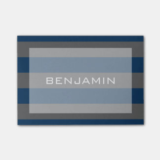 Navy Blue and Gray Rugby Stripes with Custom Name Post-it® Notes