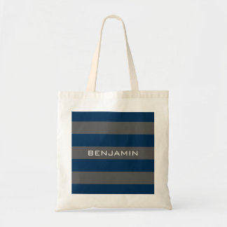 Navy Blue and Gray Rugby Stripes with Custom Name Tote Bag