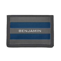 Navy Blue And Gray Rugby Stripes With Custom Name Trifold Wallet at Zazzle